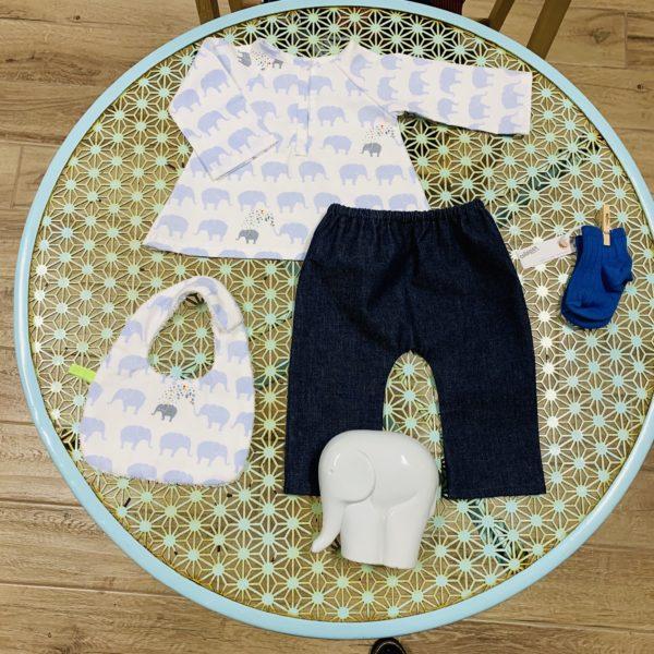 Camicia con elefantini 1-3 mesi - GraceTheGrace 04f58e751e70